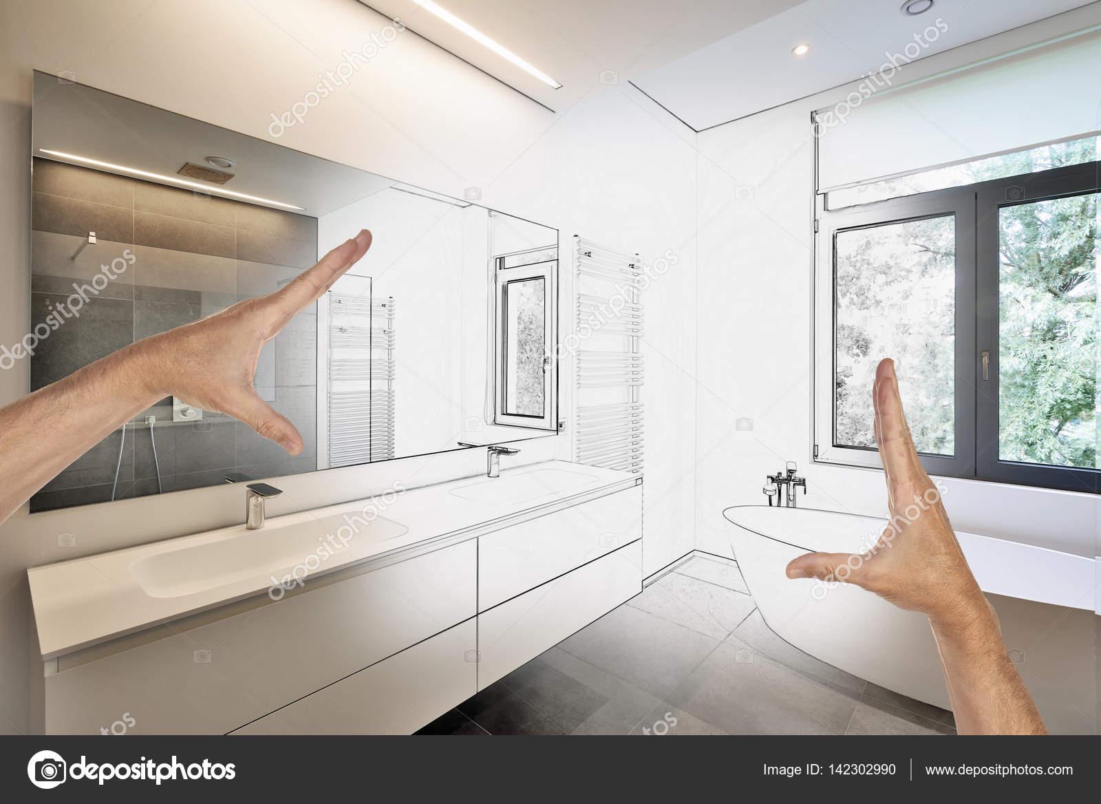 Renovación prevista de un cuarto de baño moderno de lujo — Fotos de ...