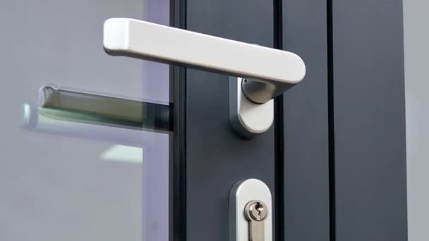 Sliding Glass Door Detail And Rail And Exterior Door Handle, Security Lock  On Metal Frame