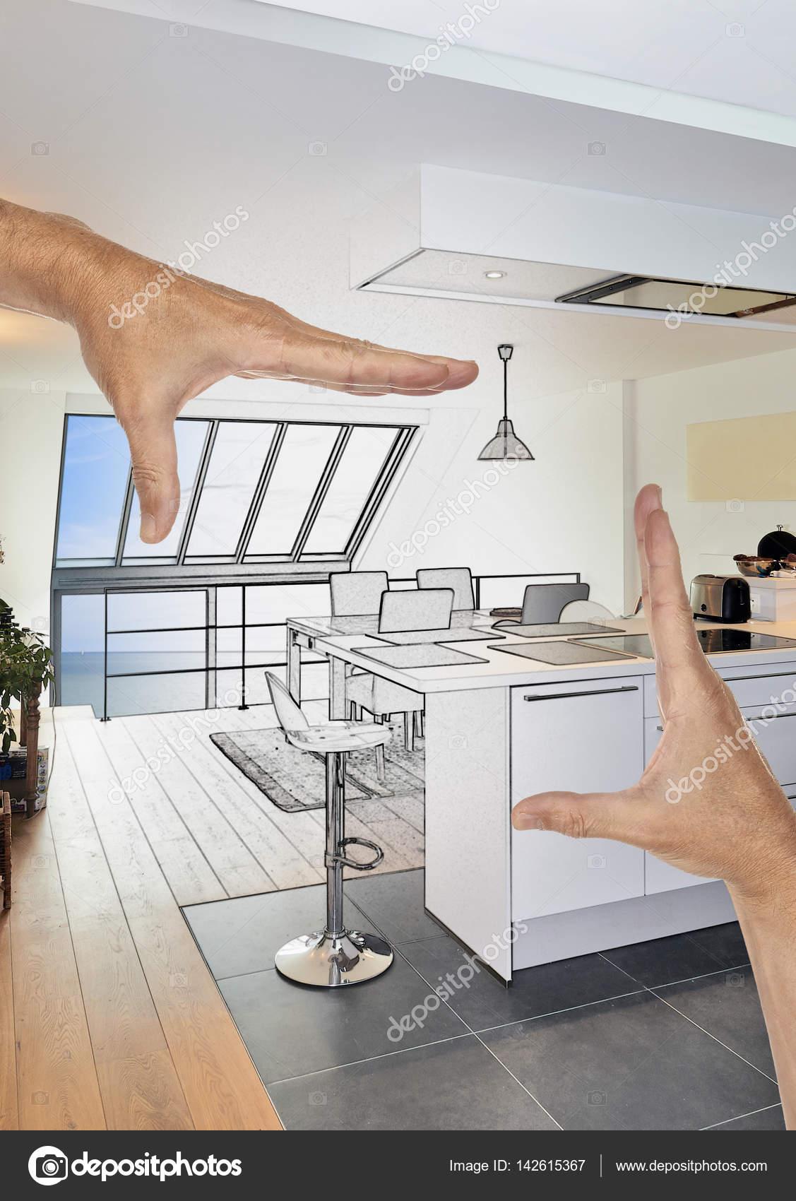 Prévue de rénovation d\'une cuisine ouverte moderne dans ...