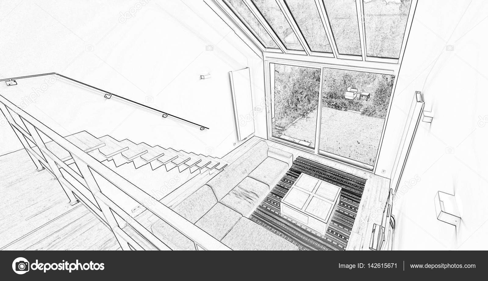 Tekening van een moderne woonkamer met grote ramen — Stockfoto ...