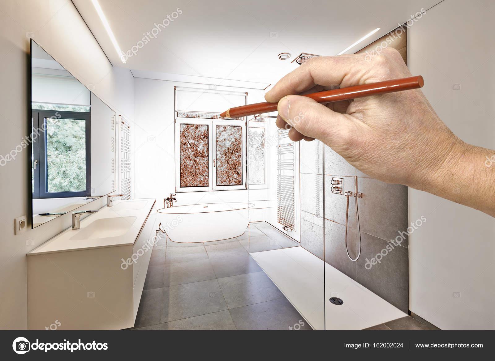 Vasca Da Bagno Disegno : Lavori di restauro di un lussuoso bagno moderno di disegno u foto