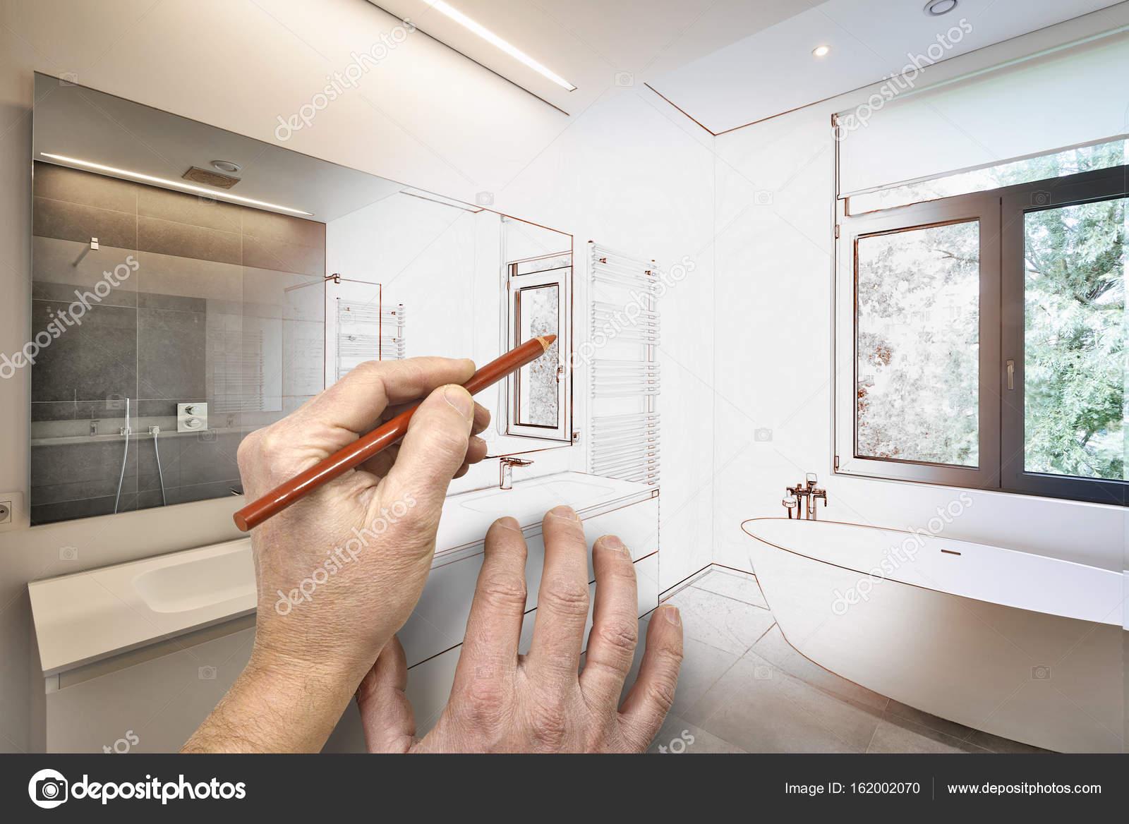 Zeichnung Eine Moderne Luxus Badezimmer Renovierung U2014 Stockfoto