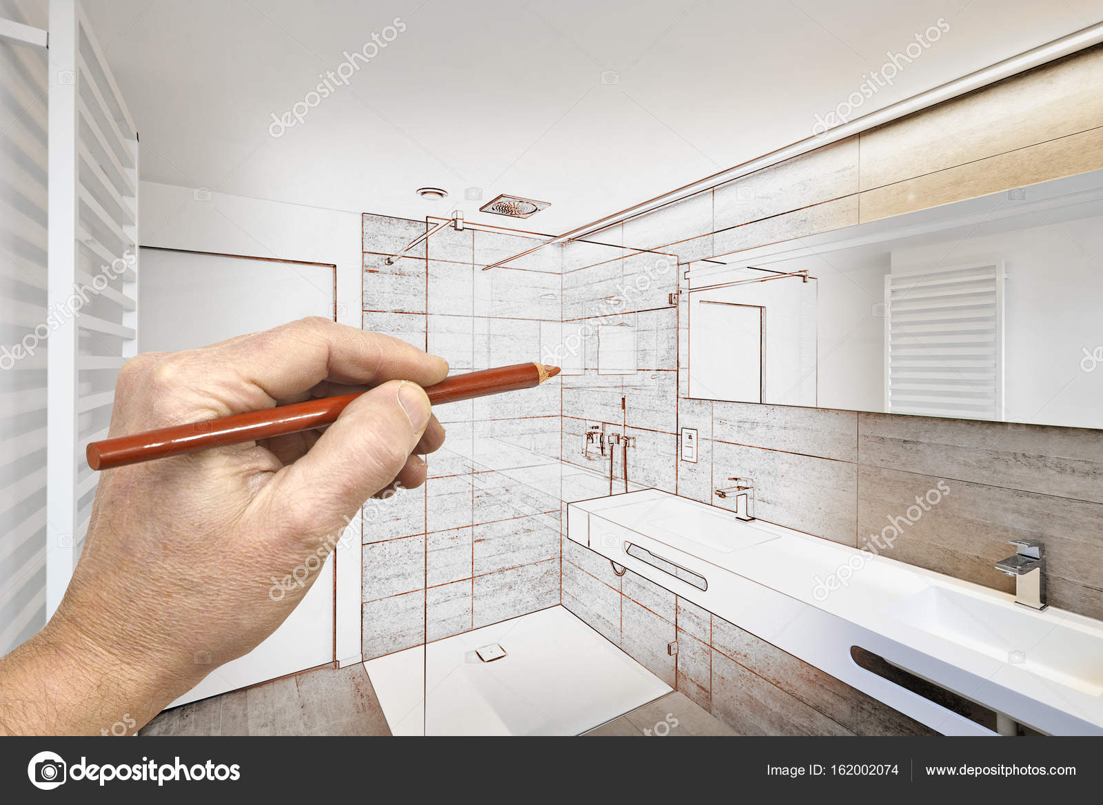 Drawing Renovation Of A Luxury Modern Bathroom Stock Photo