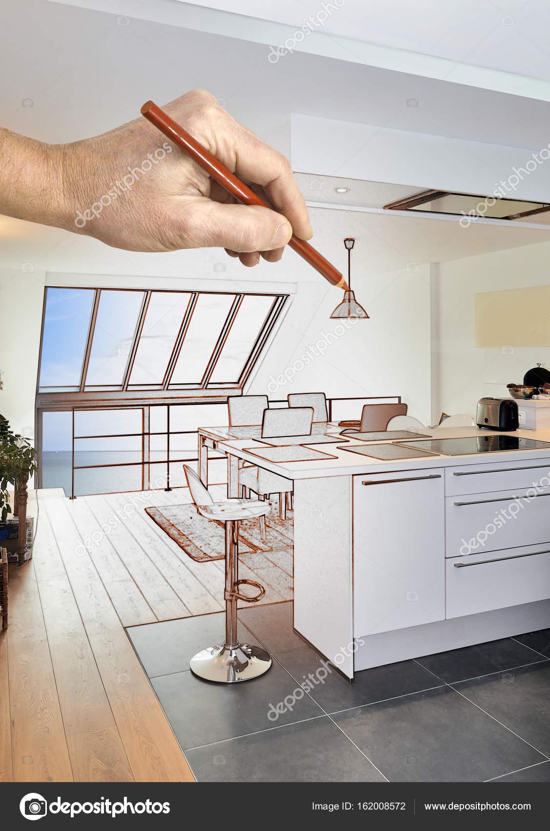 Rénovation d\'une cuisine ouverte moderne de dessin dans maison ...