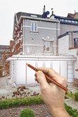 Kresba rekonstrukce nové moderní rozšíření domu
