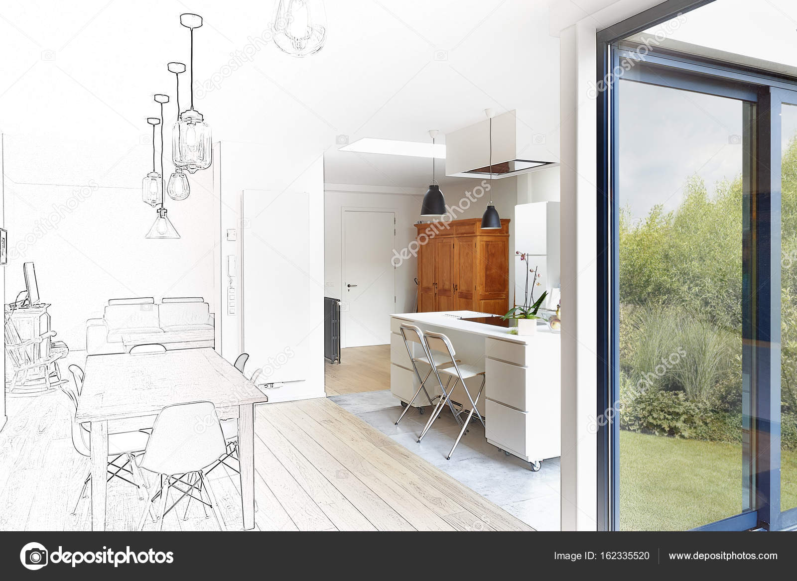 Moderne Radiator Woonkamer : Moderne luxe woonkamer en keuken u stockfoto bombaert