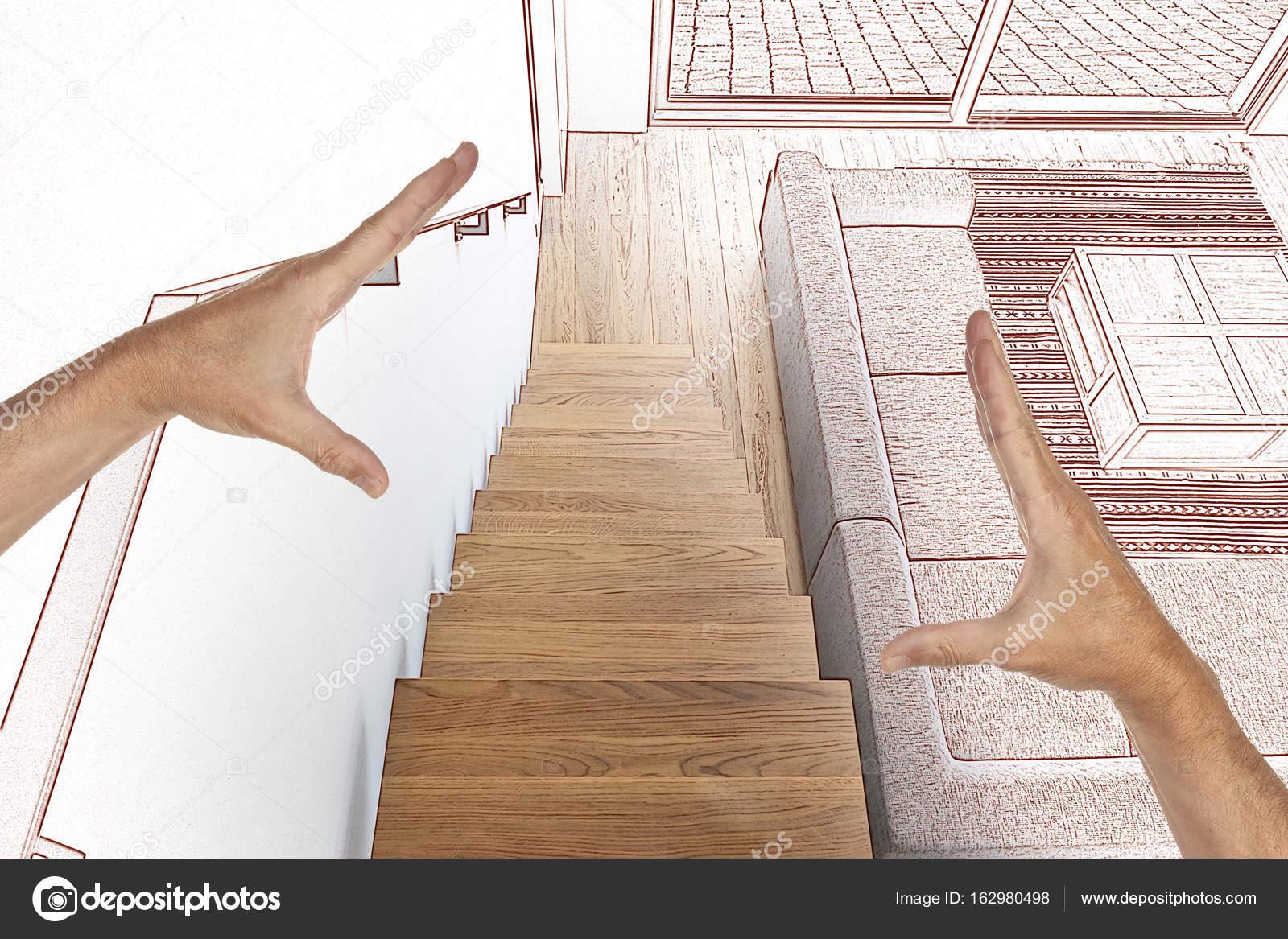 Zeichnung Und Geplanten Hartholz Treppe Und Rampe In Modern Renovierten  Wohnzimmer U2014 Foto Von Bombaert