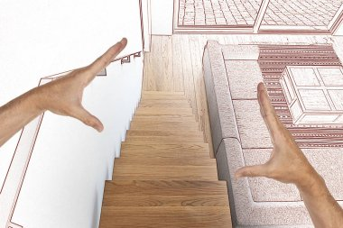 Drawing and planned Hardwood stairs and ramp