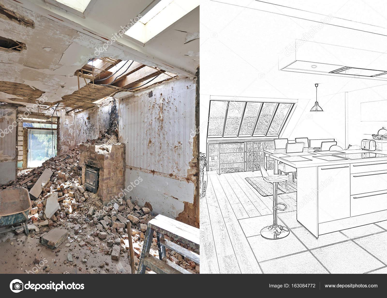 Desenho E Planejada Moderna Cozinha Renovada Stock Photo