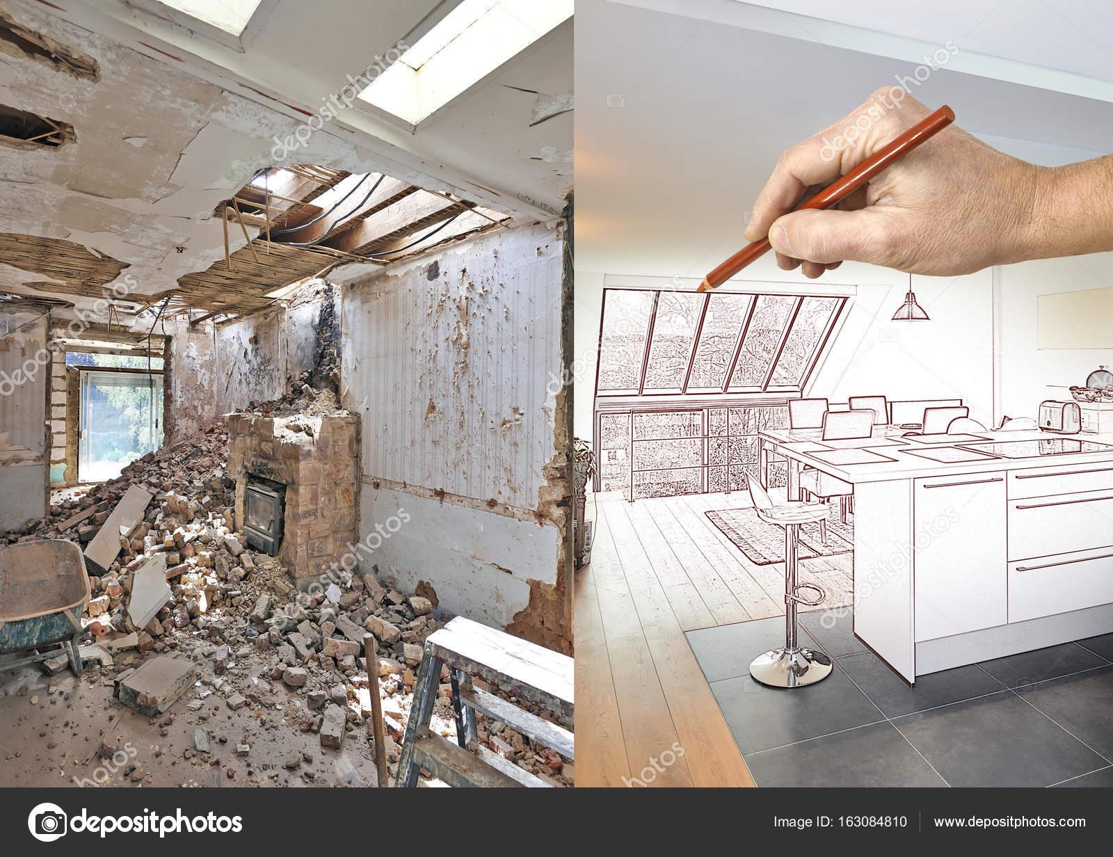 Moderne Open Keukens : Tekening en geplande moderne open keuken in het gerenoveerde huis