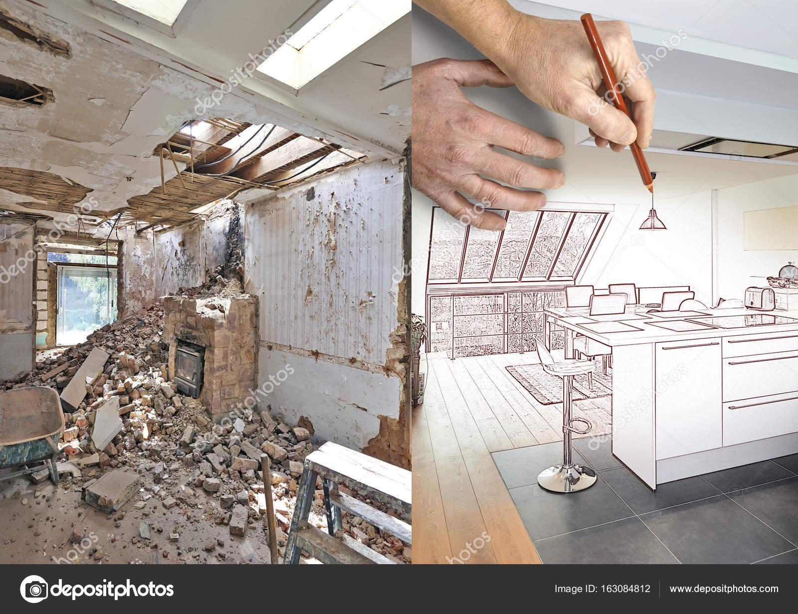 Zeichnung und geplante moderne offene Küche in renovierten Haus ...