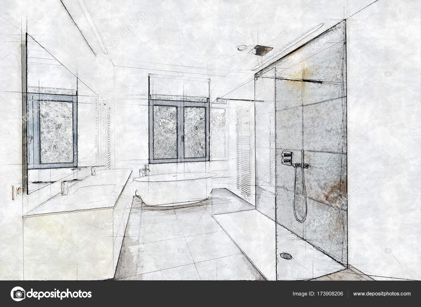 Shower Under Stairs Sketch Of A Tiled Bathroom And Shower