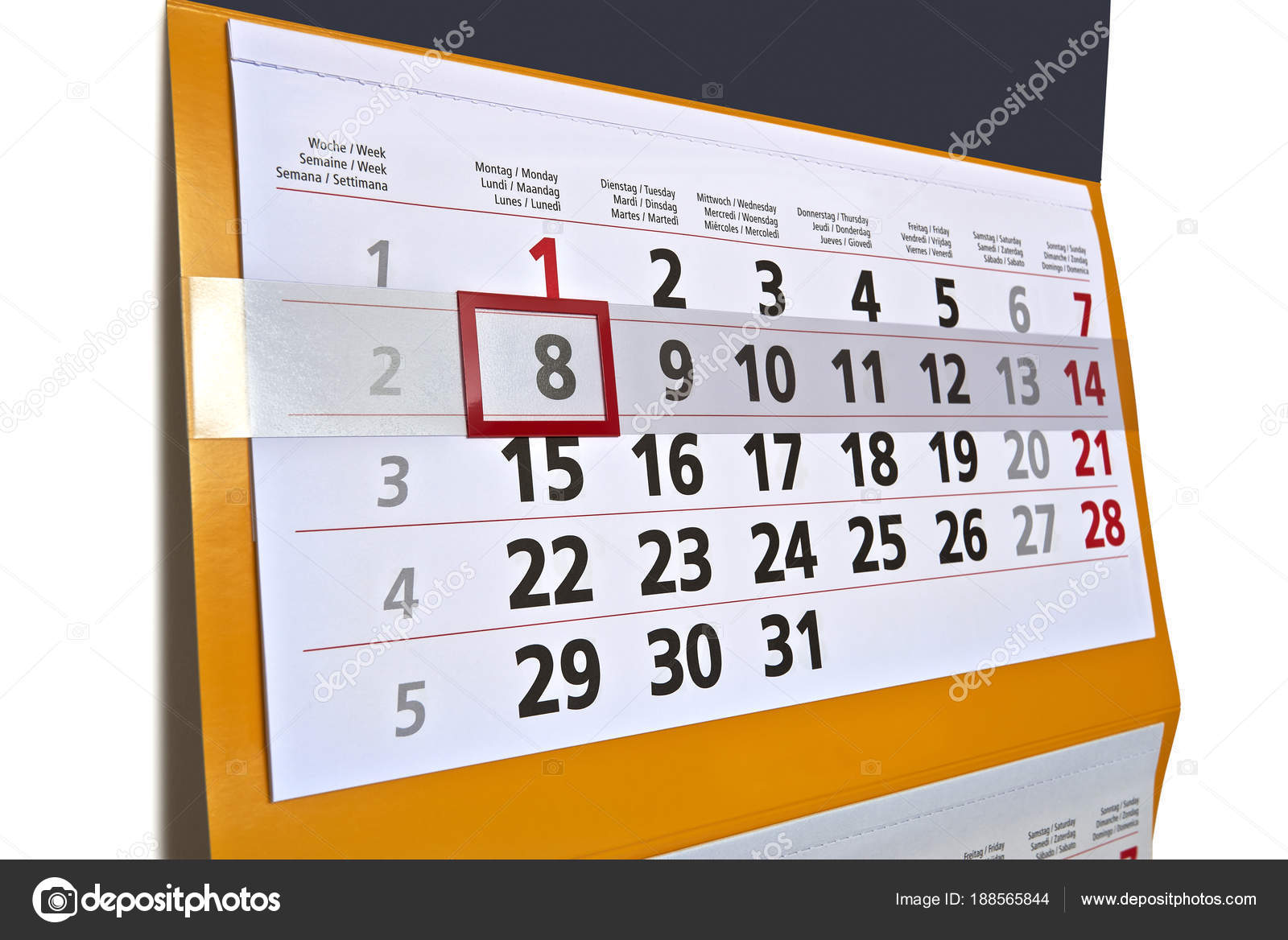 wall calendar hanging with letters and numbers stock photo