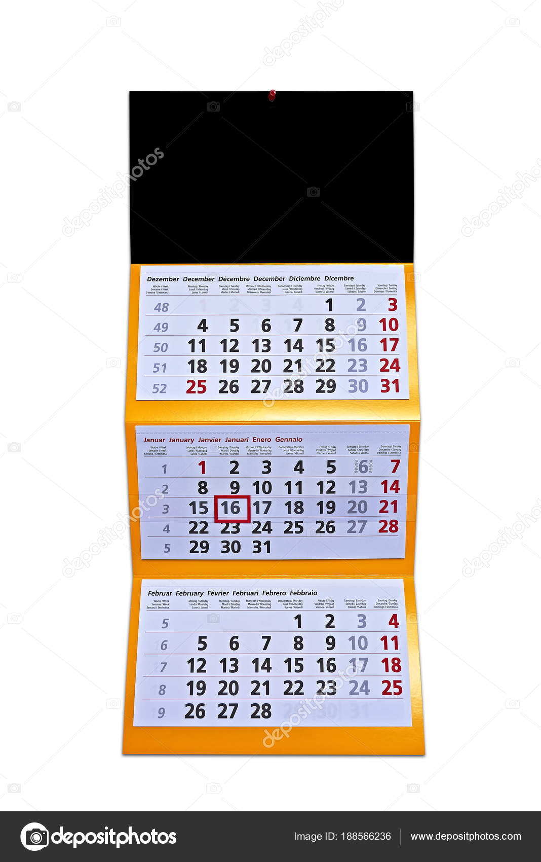 wall calendar hanging with letters and numbers front stock photo