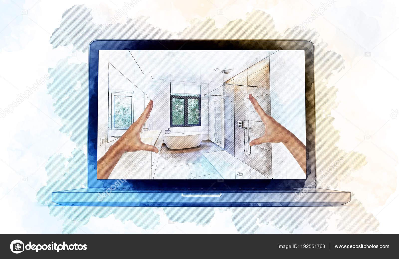 Bosquejo de las ilustraciones digital de una computadora portátil ...