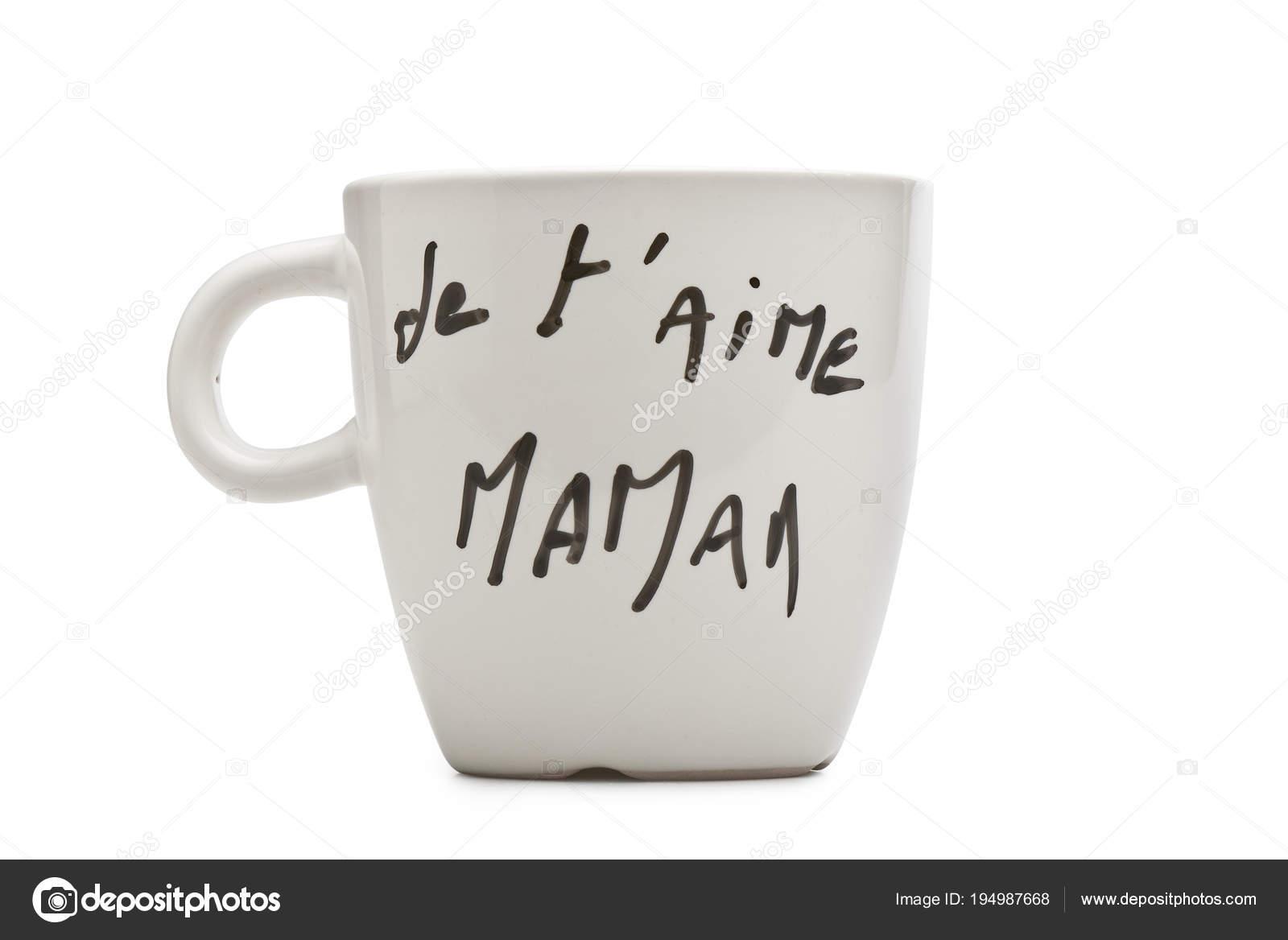 Te Amo Mamá En Francés Con Texto En Blanco Taza Foto De