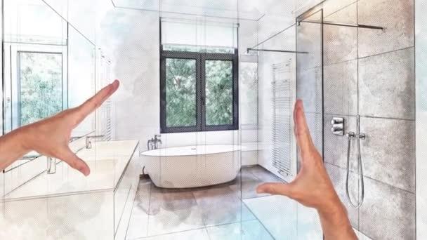 Plánované rekonstrukce luxusní moderní koupelny, vana v CORIANU, baterie a sprchy v dlážděnou koupelnu s okny do zahrady