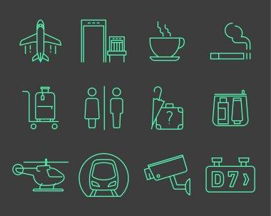 Airport navigation icons set