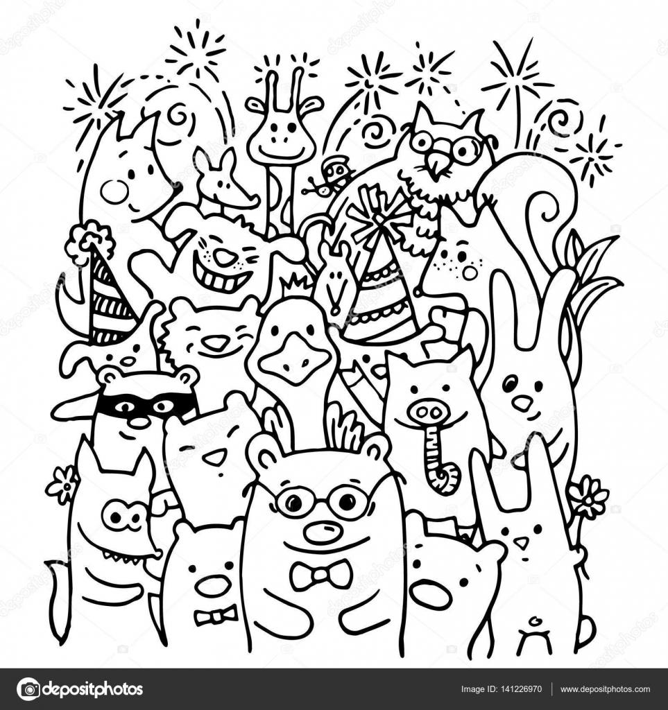 うれしそうな動物の友人の自由手書き ストックベクター Nevada31