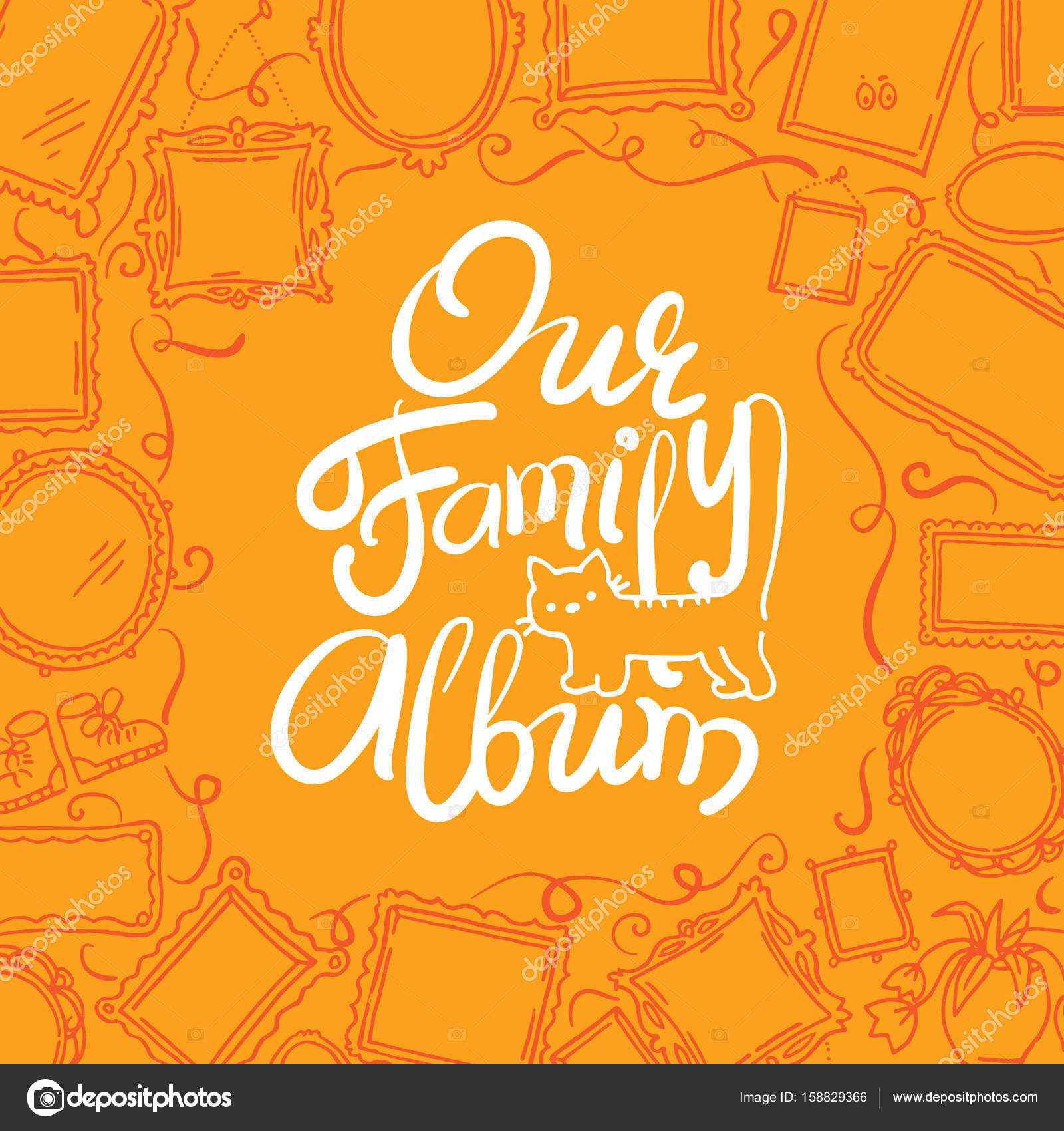 Family Photo Album cover - freehand drawing of picture frames and ...