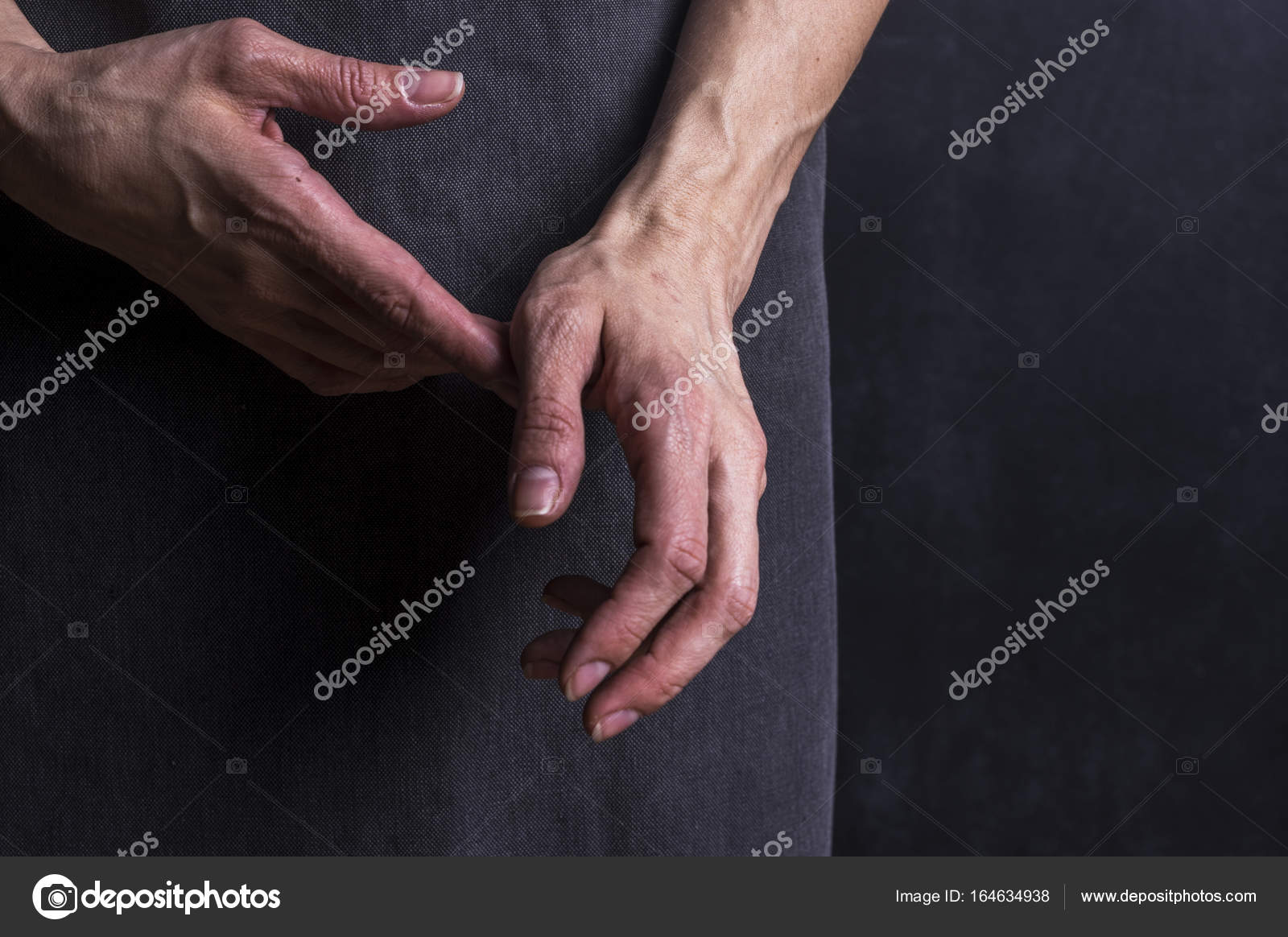 Womans Hands With Blood Veins Emotional Gesture Stock Photo