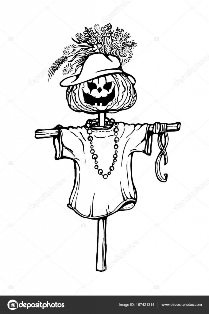 hand drawing of scarecrow stock vector 167421314