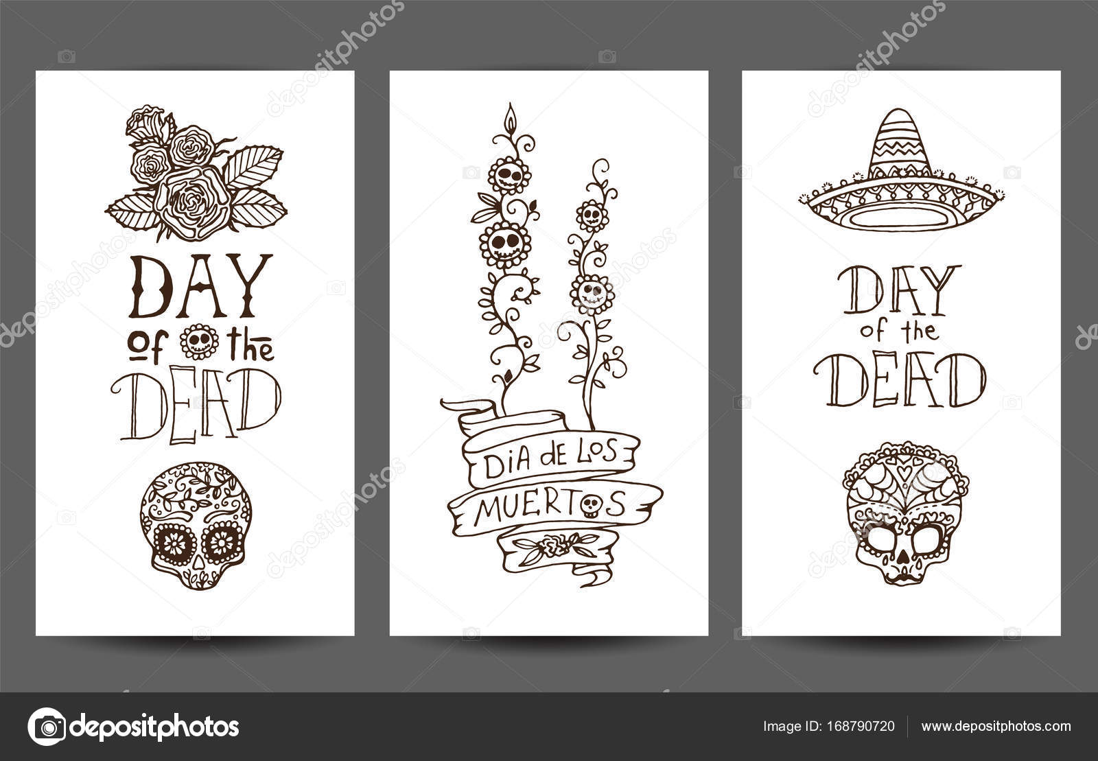 Day of the Dead set of 3 design templates — Stock Vector © Nevada31 ...