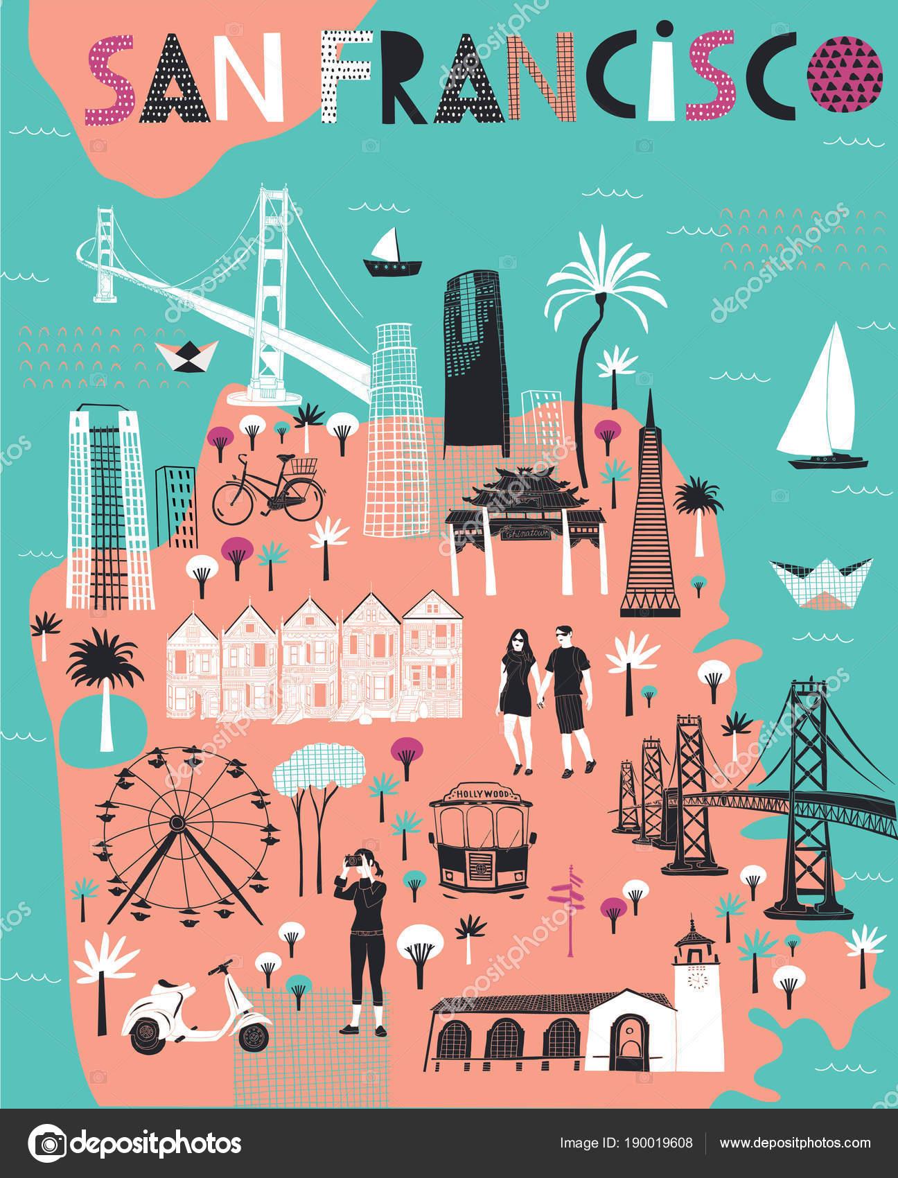 Cartoon Map San Francisco California Print Design Stock Vector