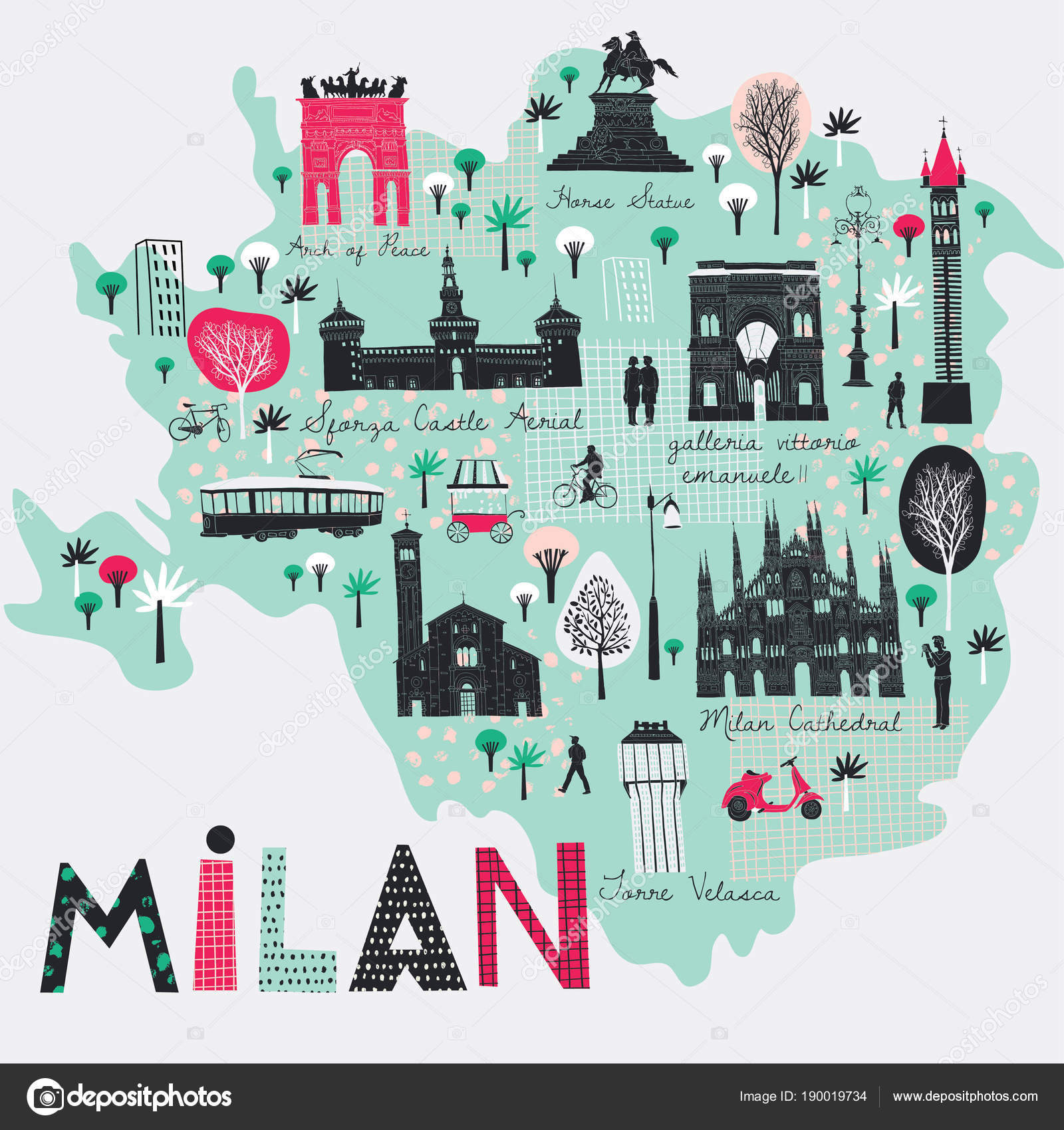 Milan Map Of Italy.Cartoon Map Milan Italy Print Design Stock Vector C Lavandaart
