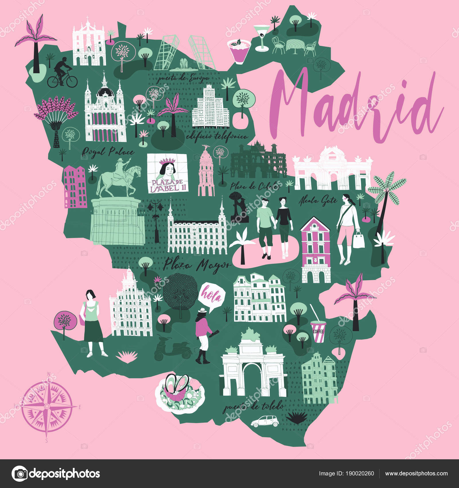 Cartoon Map Madrid Spain Print Design — Stock Vector © Lavandaart ...
