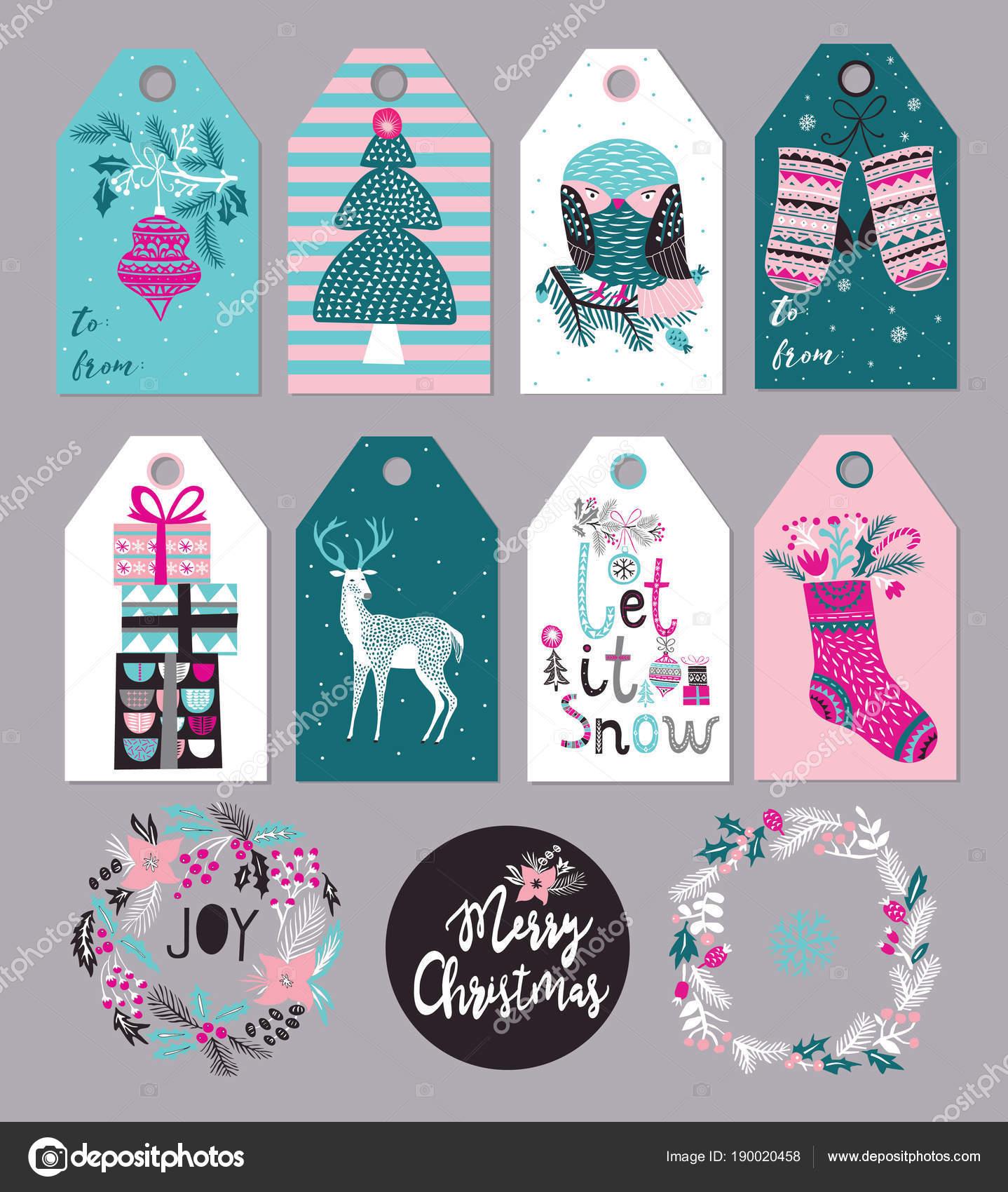 Weihnachtsgeschenk Tags Und Etiketten Set Vektor Illustration ...