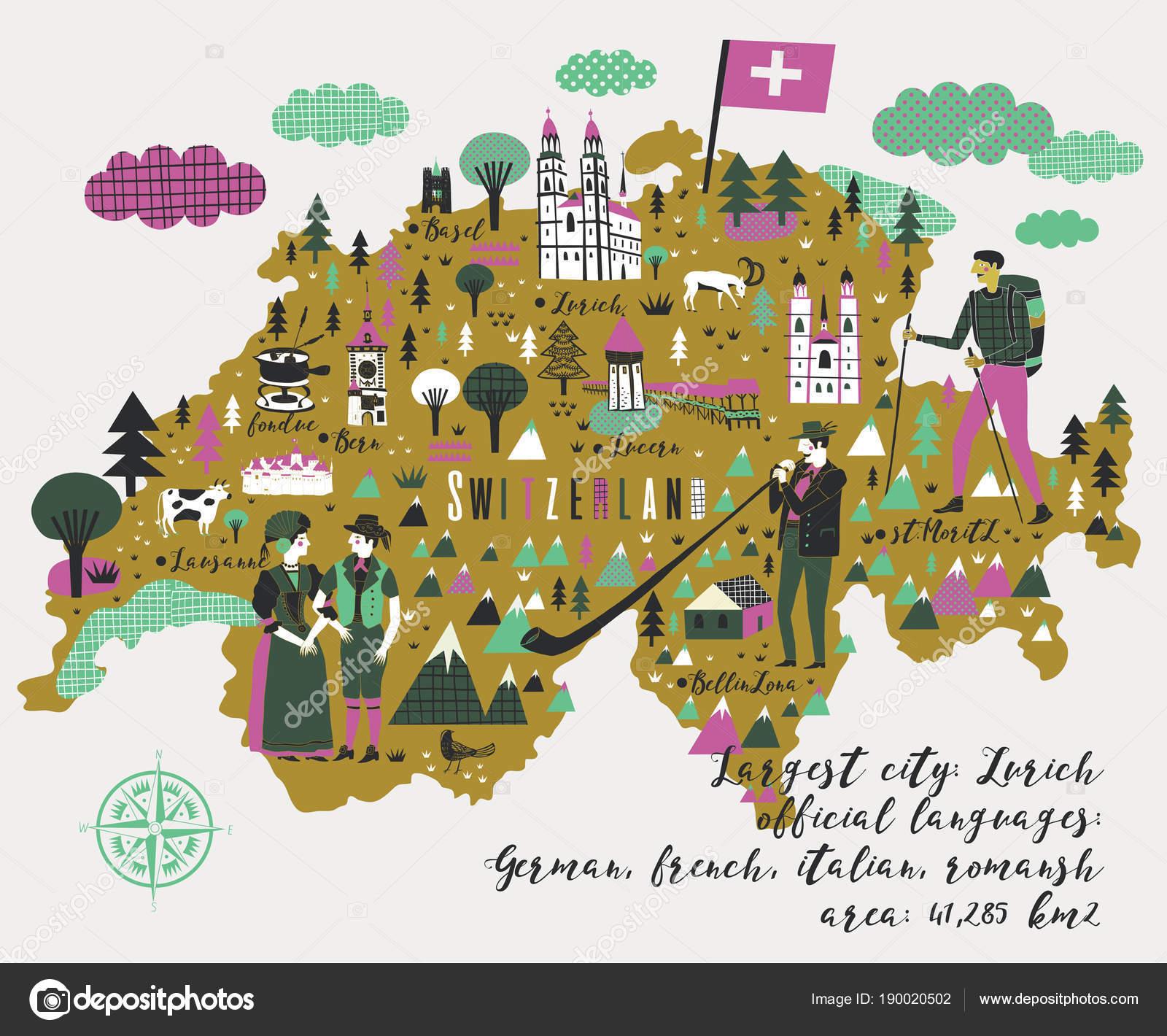 Cartoon Map Switzerland Legend Icons Stock Vector Lavandaart