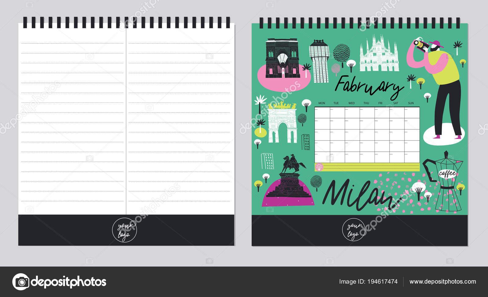 Hermoso Organizador Plantilla Calendario Programación Con Lugar Para ...