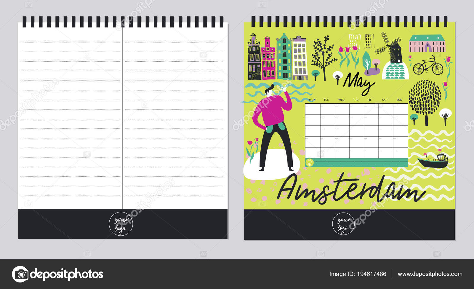 Beautiful Calendar Template Organizer Schedule Place Notes Vector ...