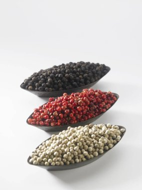 red, black and white peppercorns