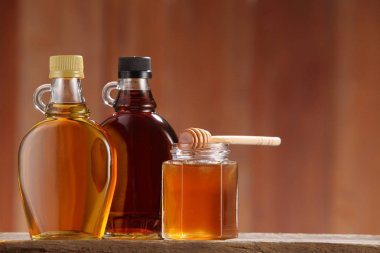 syrups in bottles and honey
