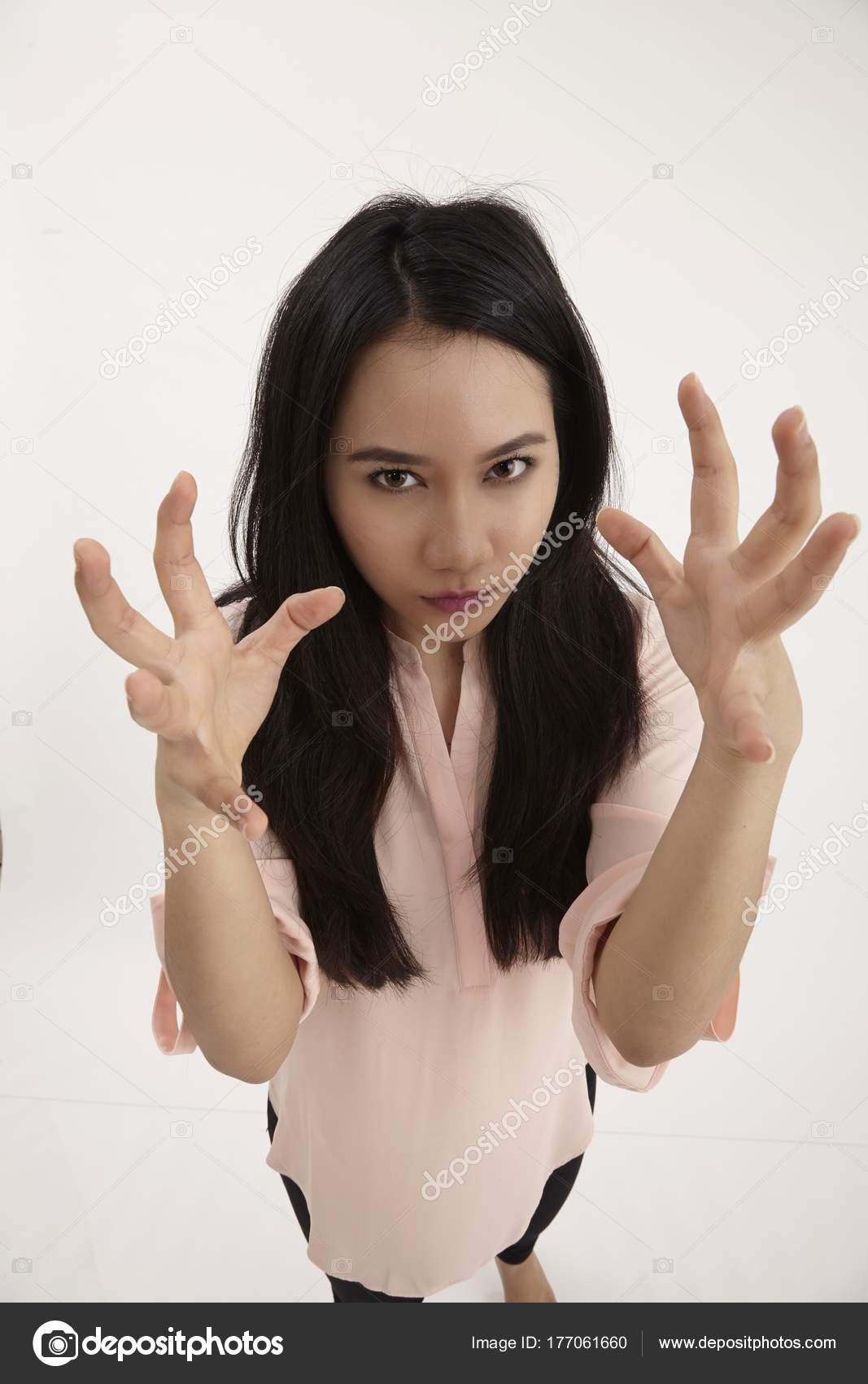 Angry Malay Woman Both Hands Open Stock Photo C Eskaylim 177061660