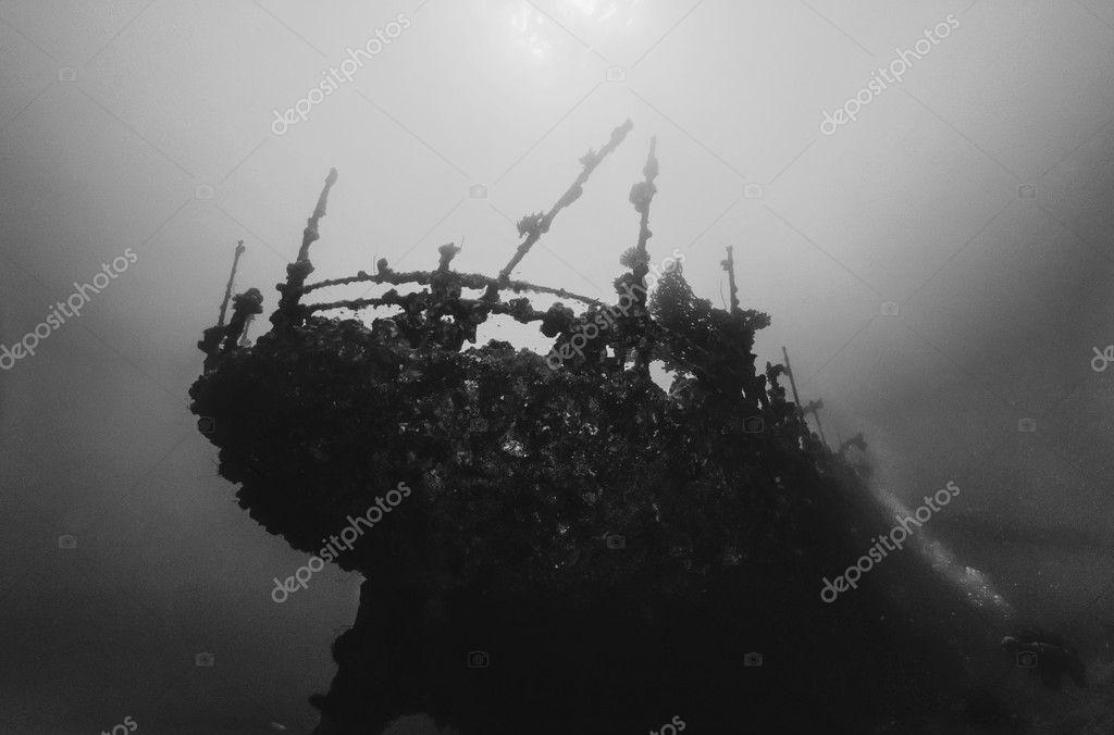 SUDAN, Red Sea, U.W. photo, wreck, the stern of the sunken ship - FILM SCAN