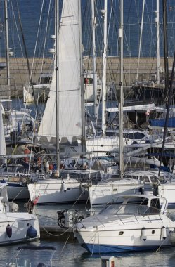 Italy, Sicily, Mediterranean sea, Marina di Ragusa; 17 October 2016, boats and luxury yachts in the port - EDITORIAL