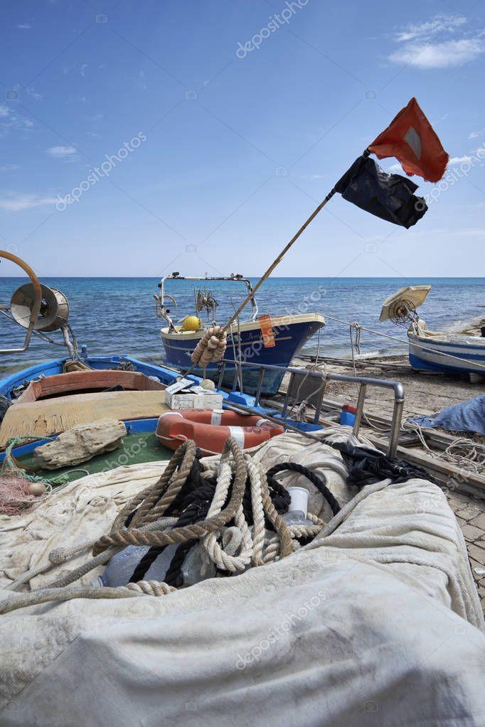 Italy, Sicily, Mediterranean sea, Sampieri (Ragusa Province); 5 June 2017, wooden fishing boats ashore - EDITORIAL