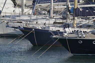 Italy, Sicily, Mediterranean sea, Marina di Ragusa; 25 July 2017, luxury yachts in the port - EDITORIAL