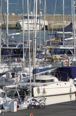 Italy, Sicily, Mediterranean sea, Marina di Ragusa (Ragusa Province); 17 February 2020, luxury yachts in the port - EDITORIAL