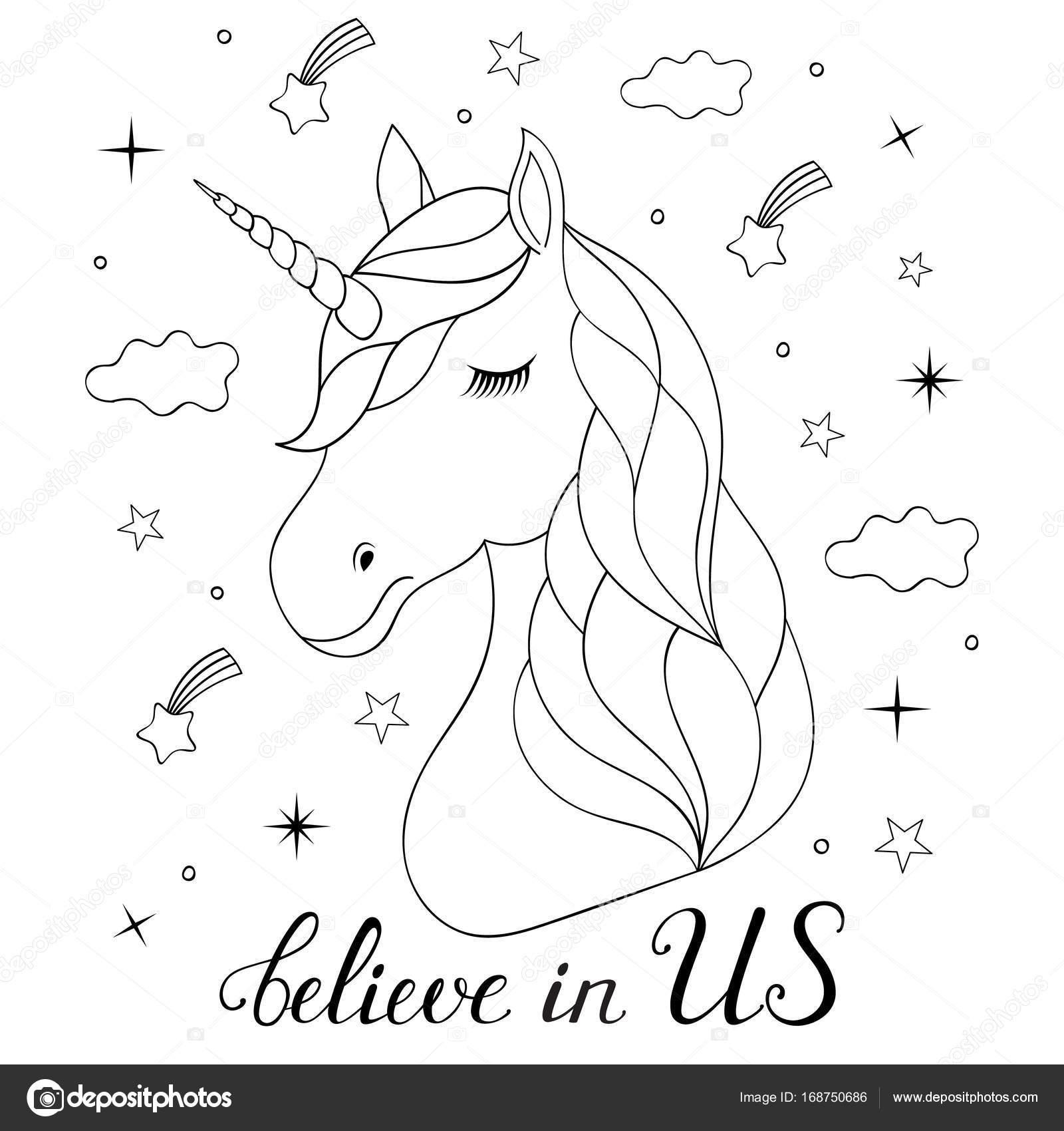 Cabeza de unicornio dibujado mano — Vector de stock © kiyanochka ...