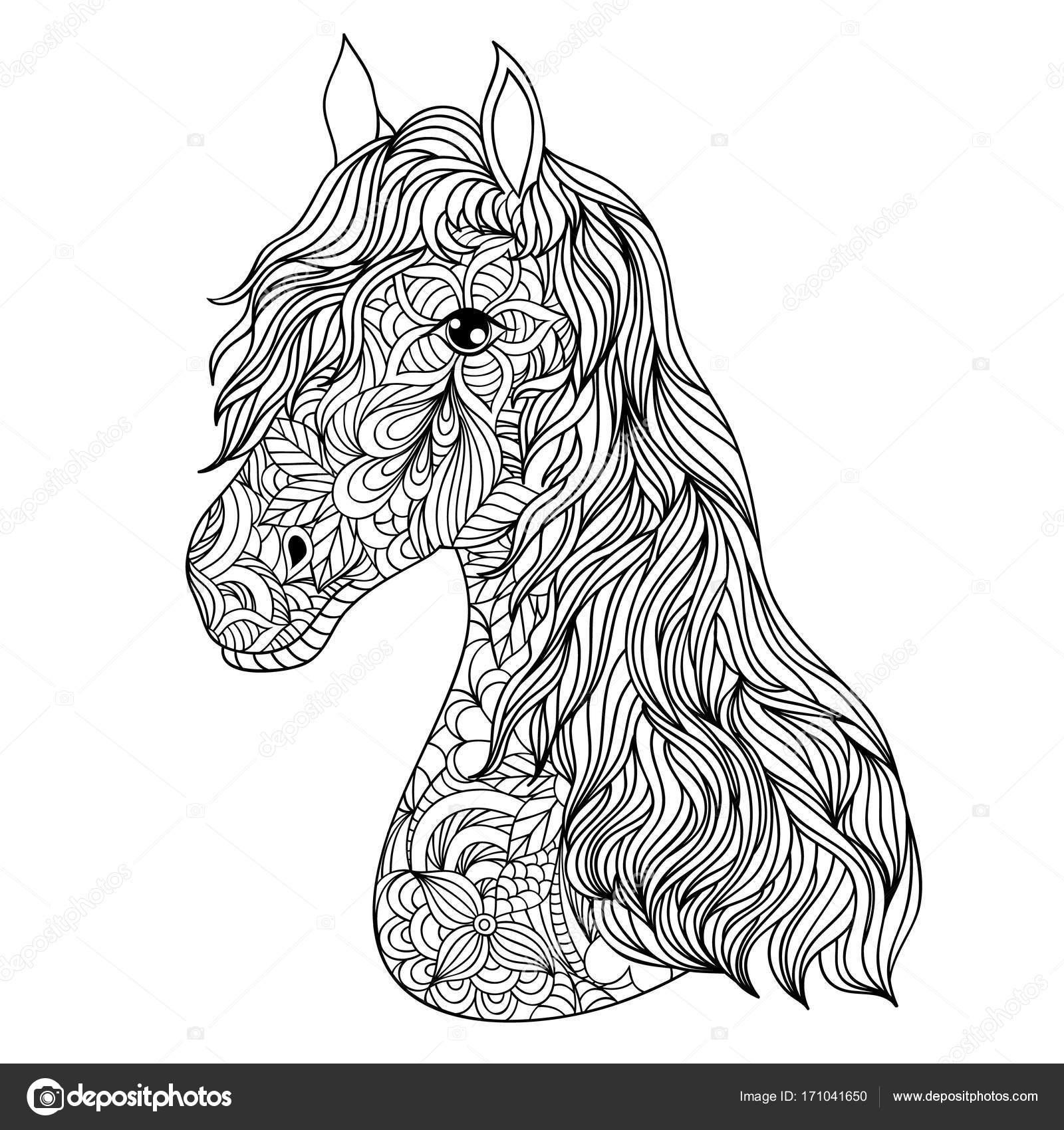 Ausmalbilder Für Erwachsene Pferd : Hand Gezeichnet Pferd Auf Wei Em Hintergrund Stockvektor