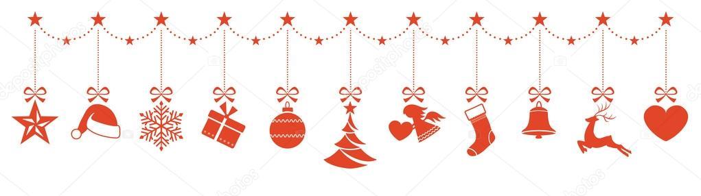 Border Of Hanging Christmas Ornaments Stock Vector C Wenani 126057824