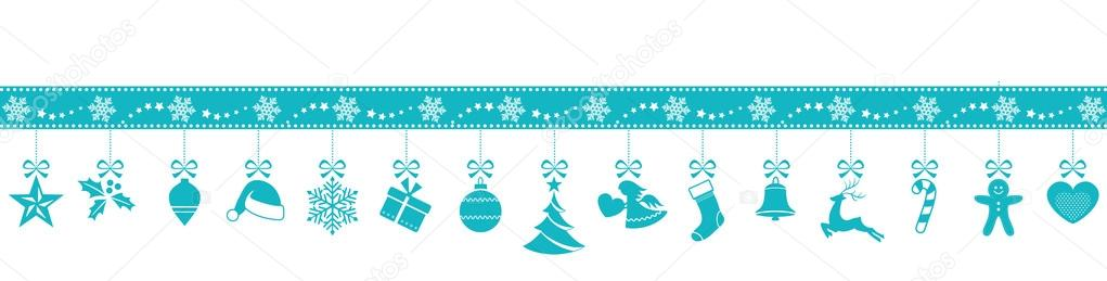 Set Of 15 Blue Christmas Ornaments Hanging From A Border Made Snowflakes And Stars Isolated On White Vector By Wenani