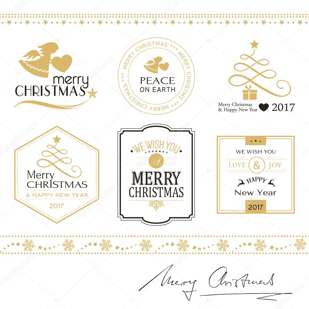 Merry Christmas icons, borders isolated on white in gold and bla ...