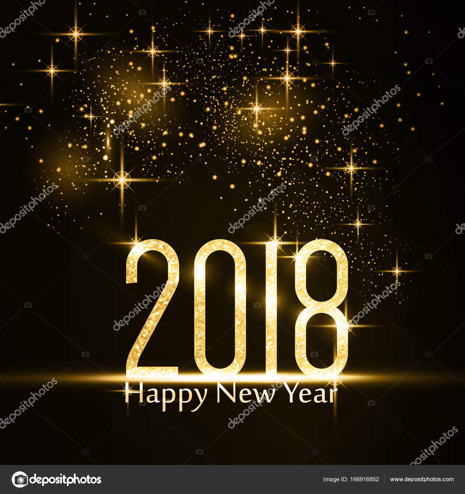 happy new year 2018 background with gold glitter stock vector