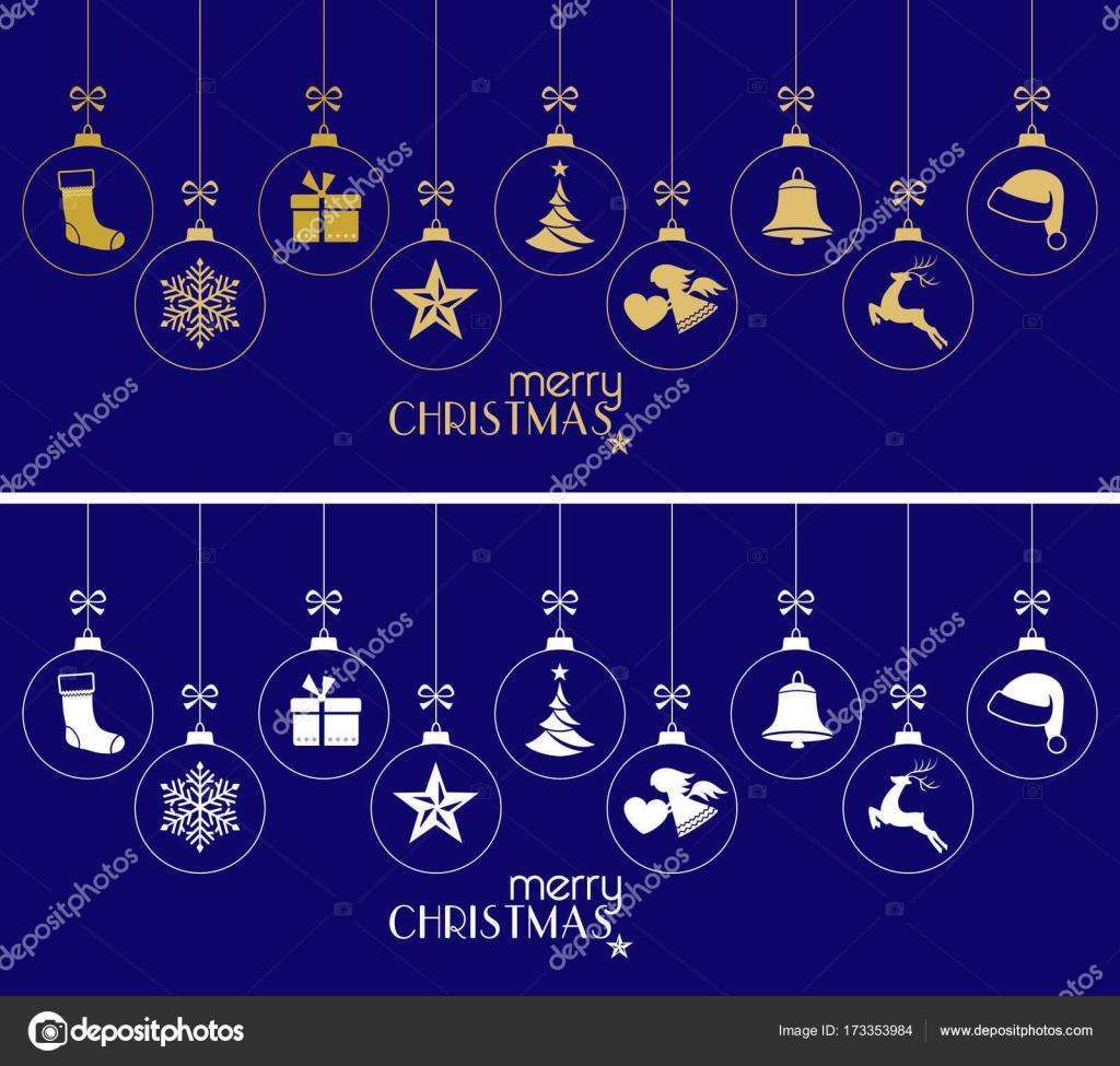 Opknoping Kerstballen Ornamenten Kerstmis Op Donkerblauw