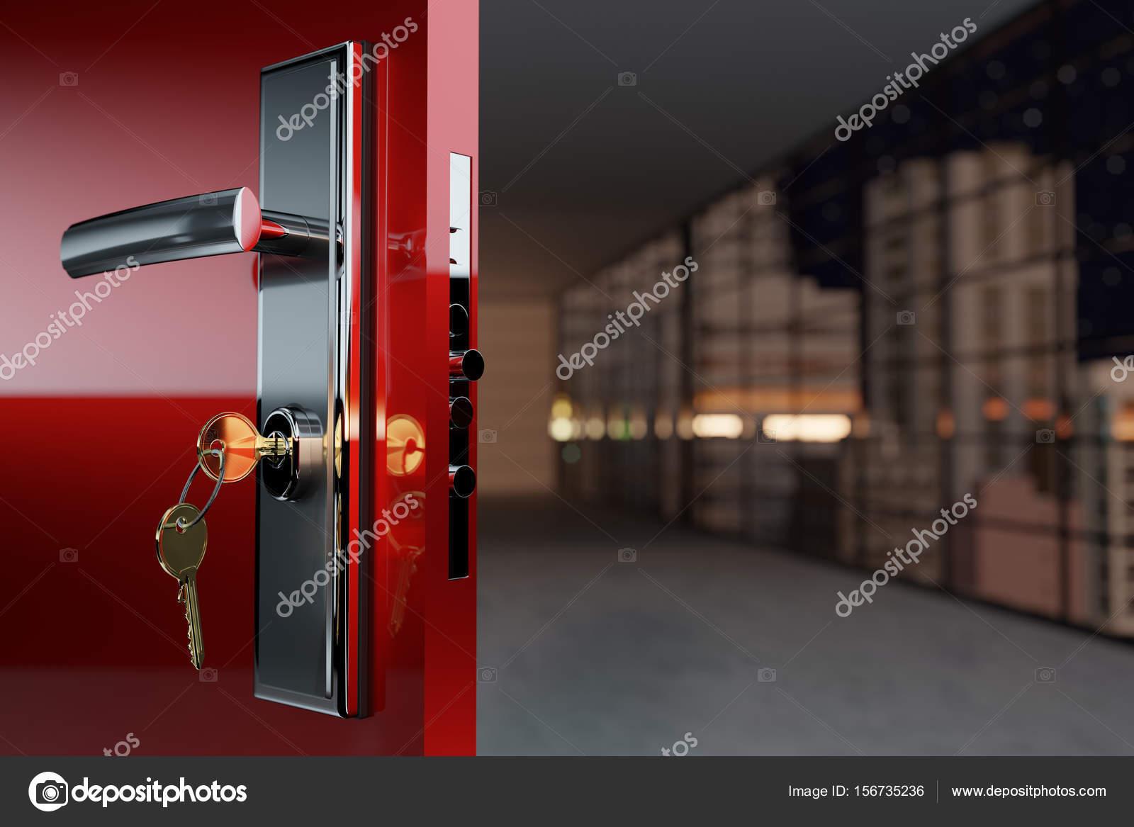 Türschloss Sicherheit sicherheit türschloss mit einem griff und einem goldenen schlüssel